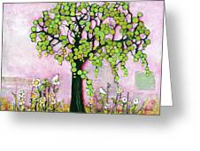 Pretty In Pink Paradise Tree Greeting Card