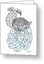 Pretty Peacock Greeting Card by Paula Dickerhoff