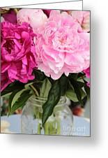 Pretty Pink Peonies In Ball Jar Vase Greeting Card