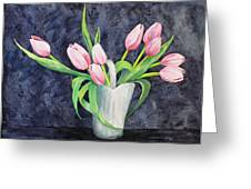 Pretty Pink Tulips Greeting Card by Dee Carpenter