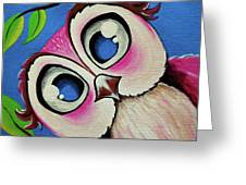 Pretty Pinky Owl Greeting Card
