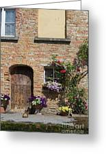 Pretty Terrace Beside The Groenerei Canal In Bruges Belgium Greeting Card