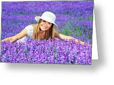 Pretty Woman On Lavender Field Greeting Card