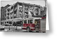 Pride, Commitment, And Service -after The Fire Greeting Card by Jeff Swanson
