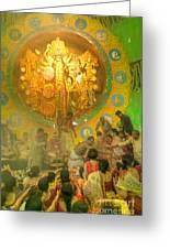 Priest Distributing Flowers For Praying To Goddess Durga Durga Puja Festival Kolkata India Greeting Card