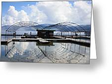 Priest Lake Boat Dock Reflection Greeting Card