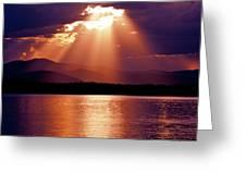 Priest Lake Sunset Heavenly Light Greeting Card