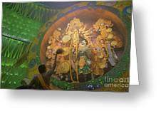 Priest Praying To Goddess Durga Durga Puja Festival Kolkata India Greeting Card