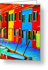 Primary Colors Of Burano Greeting Card