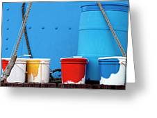 Primary Colors - Paint Buckets On A Ship Greeting Card
