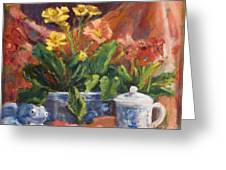 Primroses And Blue China Greeting Card