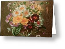 Primulas In A Glass Vase  Greeting Card