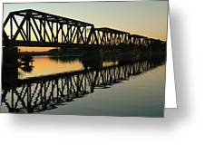 Prince Of Wales Bridge At Sunset. Greeting Card by Rob Huntley