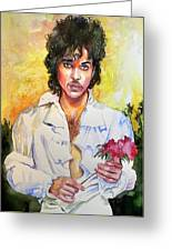 Prince Rogers Nelson Holding A Rose Greeting Card