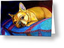 Princess And Her Pillow French Bulldog Greeting Card