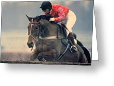 Princess Anne Riding Cnoc Na Cuille At Kempten Park Greeting Card