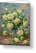 Princess Diana Roses In A Cut Glass Vase Greeting Card