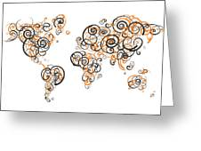 Princeton University Colors Swirl Map Of The World Atlas Greeting Card