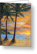 Princeville Beach Palms Greeting Card