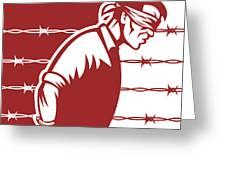 Prisoner Blindfolded Greeting Card