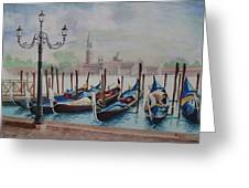 Parking Gondolas In Venice Greeting Card by Charles Hetenyi