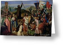 Procession Of Crusaders Around Jerusalem Greeting Card