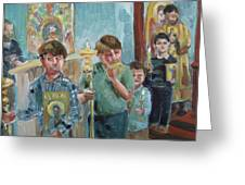 Procession With Icons Greeting Card