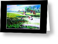Artistic Painting Photo Flying Bird Handmade Painted Village Art Photo Greeting Card