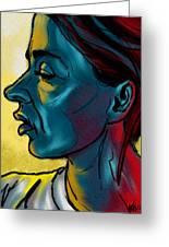 Profile In Blue Greeting Card