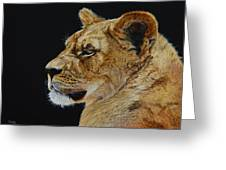 Profile Of A Lioness Greeting Card