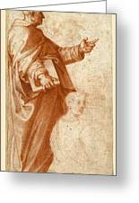 Profile Study Of A Standing Saint Holding A Book With Subsidiary Studies Of Three Additional Figures Greeting Card