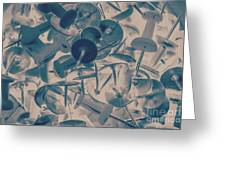 Projected Abstract Blue Thumbtacks Background Greeting Card