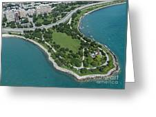 Promontory Point In Burnham Park In Chicago Aerial Photo Greeting Card