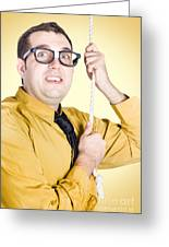 Promoted Employee Climbing Up Corporate Rope Greeting Card