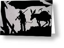 Prospector And Mule  In Metal Tombstone Arizona 2004-2014 Greeting Card