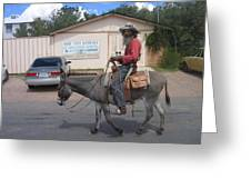 Prospector Re-enactor With Burro Passing Rose Bush Museum Sign Tombstone  Arizona 2004 Greeting Card