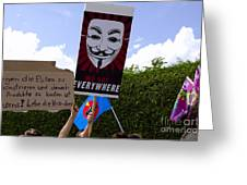Protesters With An Anonymous Mask Greeting Card