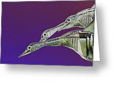 Psychedelic Metal  Sculpture Of Three Mallard Ducks Flying Greeting Card