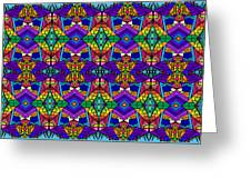 Psychedelic Pattern Blue Greeting Card