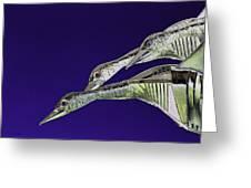 Psychedelic Sculpture Of Three Mallard Ducks Flying Greeting Card