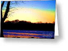 Psychedelic Sunrise On The Delaware River Greeting Card