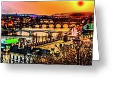 Psychedelic Sunset Art Greeting Card