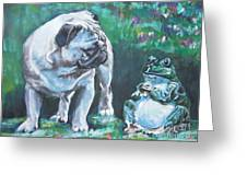 Pug Fawn With Frog Greeting Card