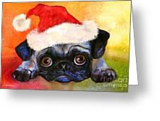 Pug Santa Portrait Greeting Card