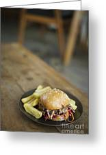 Pulled Pork Bun With Fries Greeting Card