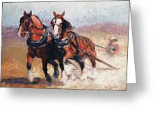 Pulling Contest Clydesdales Draft Horse Paintings Greeting Card