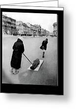 Pulling Dead Body Siege Of Leningrad Soviet Union 1941 Greeting Card
