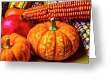 Pumpkin Corn Still Life Greeting Card
