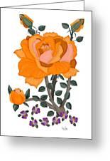 Pumpkin Rose And Violas Greeting Card