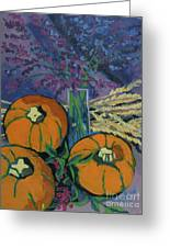 Pumpkins And Wheat Greeting Card by Erin Fickert-Rowland